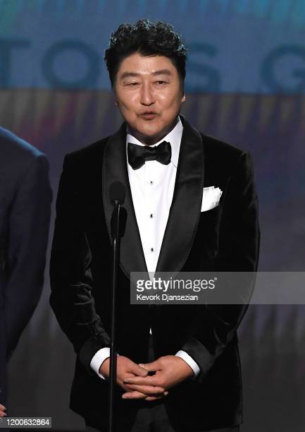 Song Kangho accepts Outstanding Performance by a Cast in a Motion Picture for 'Parasite' onstage during the 26th Annual Screen Actors Guild Awards at...