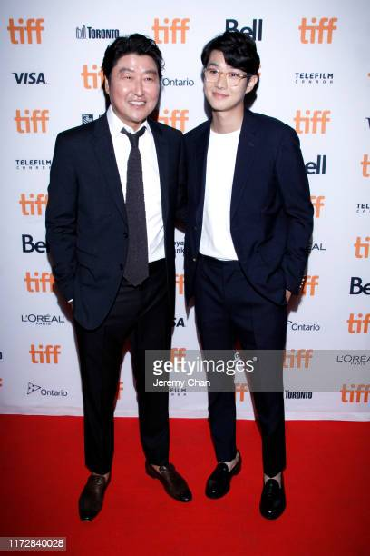 """Song Kang-Ho and Choi Woo-shik attend the """"Parasite"""" premiere during the 2019 Toronto International Film Festival at Ryerson Theatre on September 06,..."""