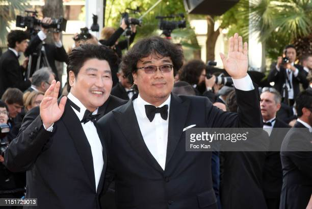 Song Kangho and Palme D'Or winner Bong JoonHo attend the closing ceremony screening of The Specials during the 72nd annual Cannes Film Festival on...