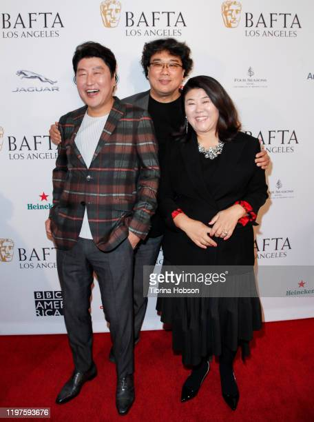 Song Kangho Bong Joonho and Lee Jeongeun attend The BAFTA Los Angeles Tea Party at Four Seasons Hotel Los Angeles at Beverly Hills on January 04 2020...