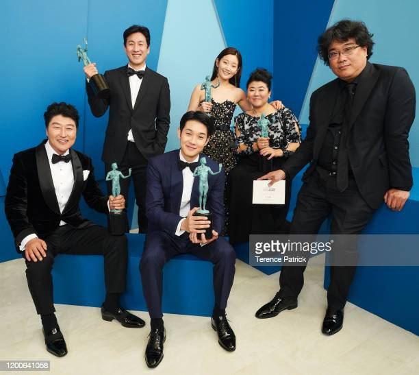 Song Kangho Lee Sun Gyun Choi Wooshik Park Sodam Lee Jeongeun and Bong Joonho winner of the Outstanding Performance by a Cast in a Motion Picture...