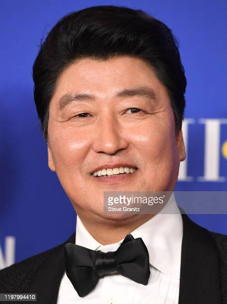 Song Kangho poses in the press room at the 77th Annual Golden Globe Awards at The Beverly Hilton Hotel on January 05 2020 in Beverly Hills California