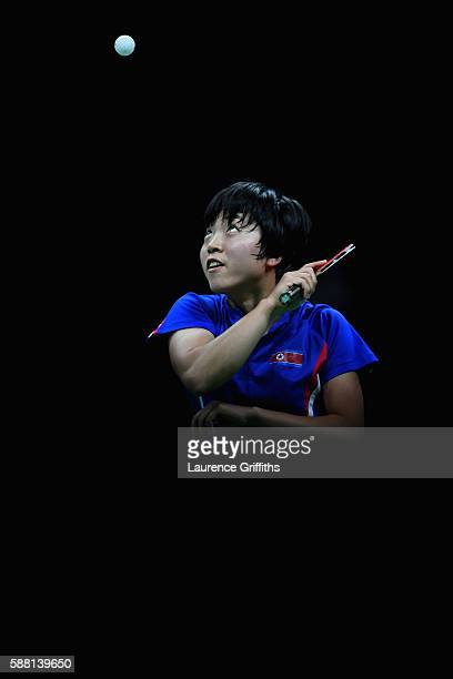 Song Kim of Democratic Peoples Republic of Korea in action during her Womens Table Tennis Singles Semi Final match against Ning Ding of Chinaat Rio...