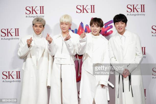 Song MinHo Lee SeungHoon Kim JinWoo and Kang SeungYoon of South Korean boy band WINNER attend the SKII Pitera Pop Up Store Opening on December 1 2017...