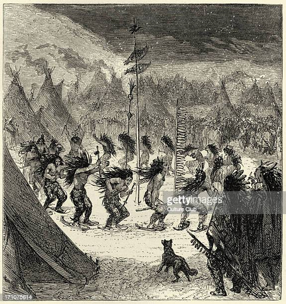 Song of Hiawatha by Henry Wadsworth Longfellow 'The Ghosts' 'On the plain the dance of snowshoes' American lyric poet 27 February 1807 – 24 March 1882