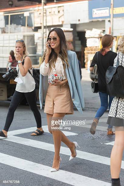 Song of Style blogger and Interior Designer Aimee Songs wears a Chloe outfit after Peter Som on Day 2 of New York Fashion Week Spring/Summer 2014 on...