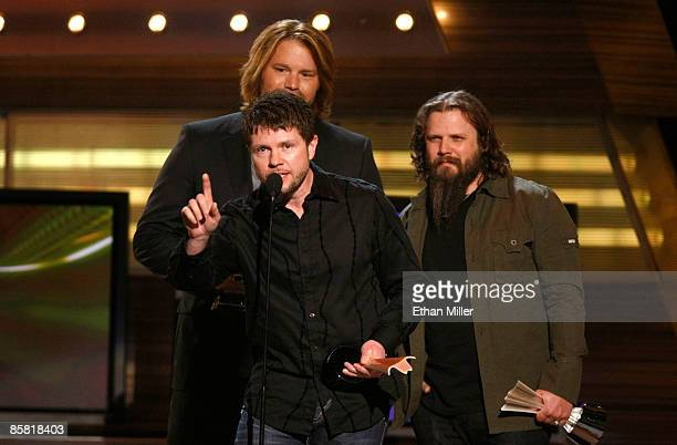 Song of the year award winners musician James Otto composer Lee Thomas Miller and Jamey Johnson speak onstage during the 44th annual Academy Of...