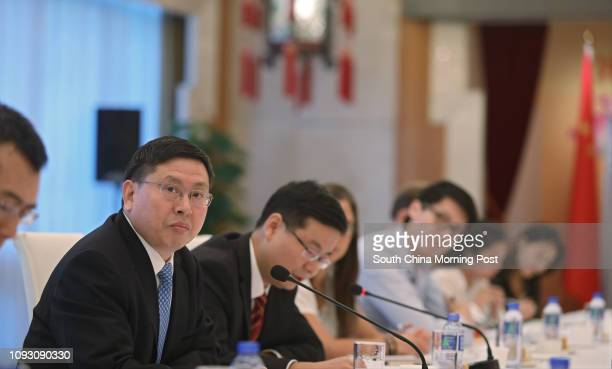 Song Rué??an , deputy commissioner of Beijingé??s foreign ministry office in Hong Kong, attends a press briefing on the outcomes of the 19th National...