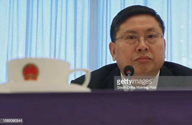 Song Rué??an, deputy commissioner of Beijingé??s foreign ministry office in Hong Kong, attends a press briefing on the outcomes of the 19th National...