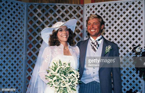 Song stylist Karen Carpenter poses with real estate developer Thomas Burris after they were married at the Beverly Hills Hotel 8/31 During the...