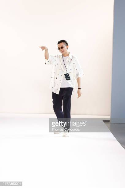 Song Ta greets the audience after presenting his Songta fashion show at Gallery II at Spring Studios on September 04 2019 in New York City