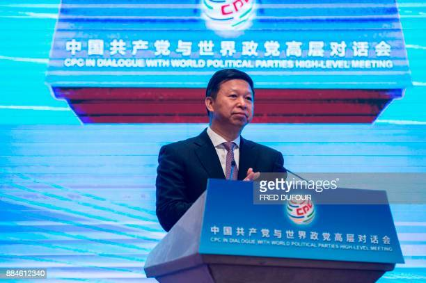 Song Tao China's minister of the International Department of the CPC Central Committee gives a speech during the closing ceremony of a meeting of...