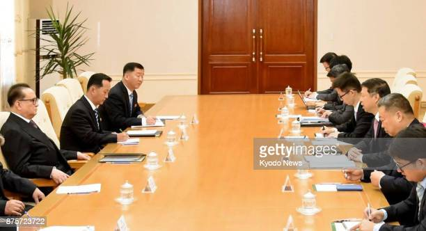 Song Tao head of the Chinese Communist party's International Department speaks during his meeting with North Korea's Ri Su Yong vice chairman of the...