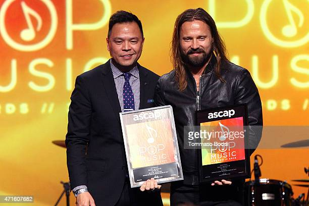 Song writer Max Martin is honored on stage during the 32nd annual ASCAP Pop Music Awards held at Lowes Hollywood Hotel on April 29 2015 in Hollywood...