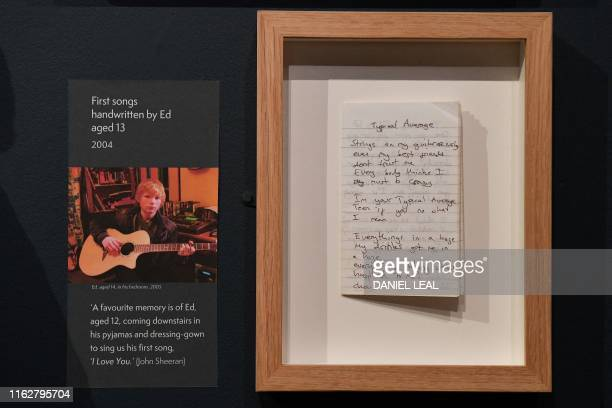 A song written by British musician Ed Sheeran when he was 13yearsold is pictured during a press preview of the exhibition 'Ed Sheeran Made in...