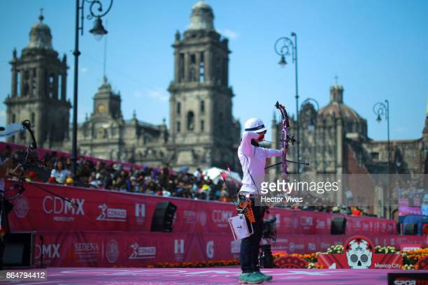 Song Yun Soo of Korea lines up an arrow during the Gold Compound Women Competition as part of the Mexico City 2017 World Archery Championships at...