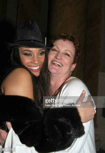 Songbird Alicia Keys hugs her mother Terry Augello as the two celebrate Keys' 22nd birthday at a party at Capitale on the Bowery hosted by Arista...