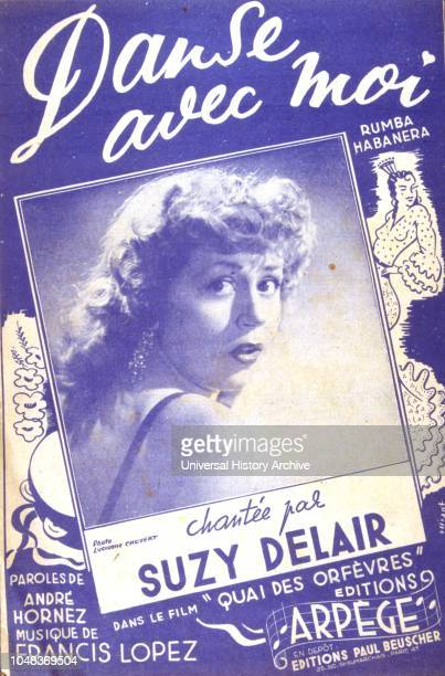 Songbook cover for 'Danse avec Moi' a 1947 French song by Suzy Delair.