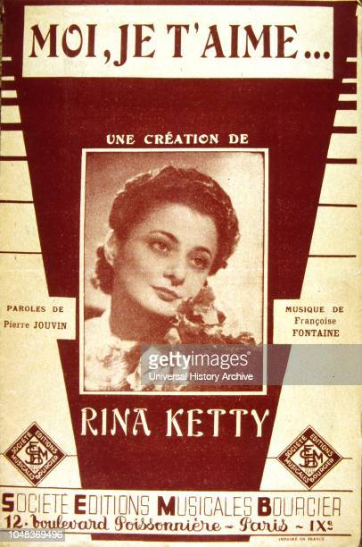 Songbook cover for 'Moi Je T'aime' a 1950's French song by Rina Ketty an Italian singer