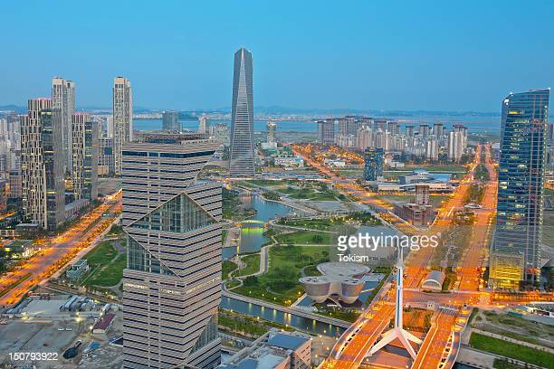 songdo central park - incheon stock pictures, royalty-free photos & images