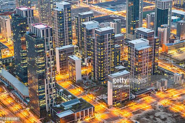 songdo city - songdo ibd stock pictures, royalty-free photos & images