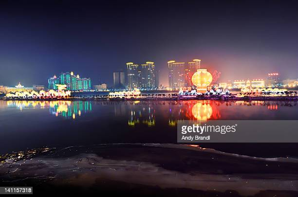Songhua River with illuminated Jilin City