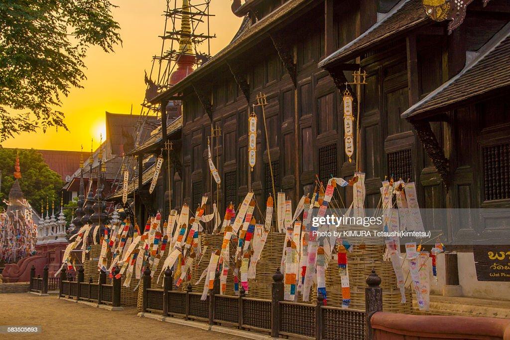 Songkram Decoration at Wat Phan Tao in Chiang Mai : Stock Photo
