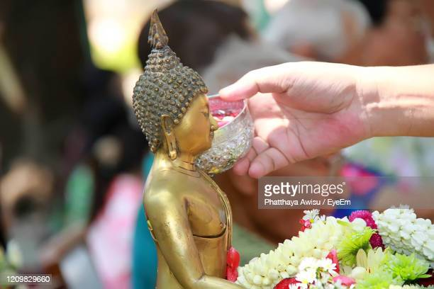 songkran festival is new year in thailand, water blessing ceremony - buddhist new year stock pictures, royalty-free photos & images