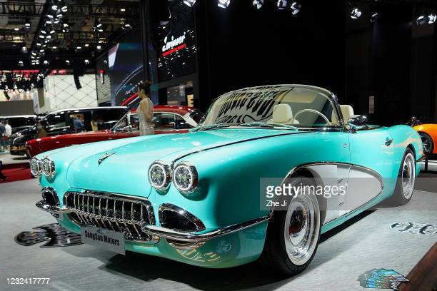 Songsan Motors SS Dolphin car is displayed during the 19th Shanghai International Automobile Industry Exhibition, also known as Auto Shanghai 2021,...