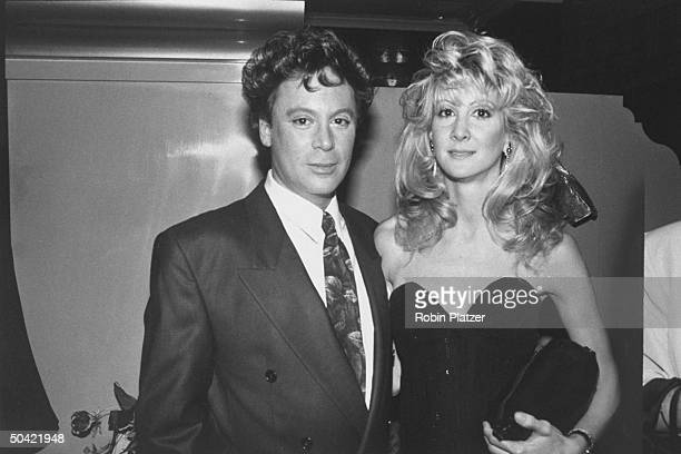 Songster Eric Carmen w fiancee Susan Brown at Arista Records 15th anniversary bash to raise money for AIDS