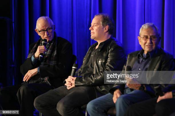 Songwriter Alan Bergman director Danny Gold and producer George Shapiro speak onstage at Reel to Reel If You're Not in the Obit Eat Breakfast at The...