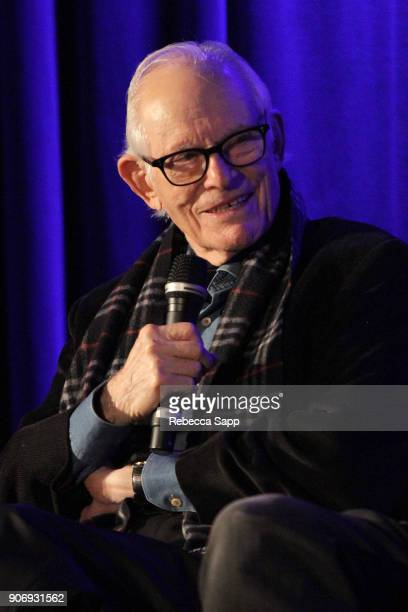 Songwriter Alan Bergman speaks onstage at Reel to Reel If You're Not in the Obit Eat Breakfast at The GRAMMY Museum on January 18 2018 in Los Angeles...