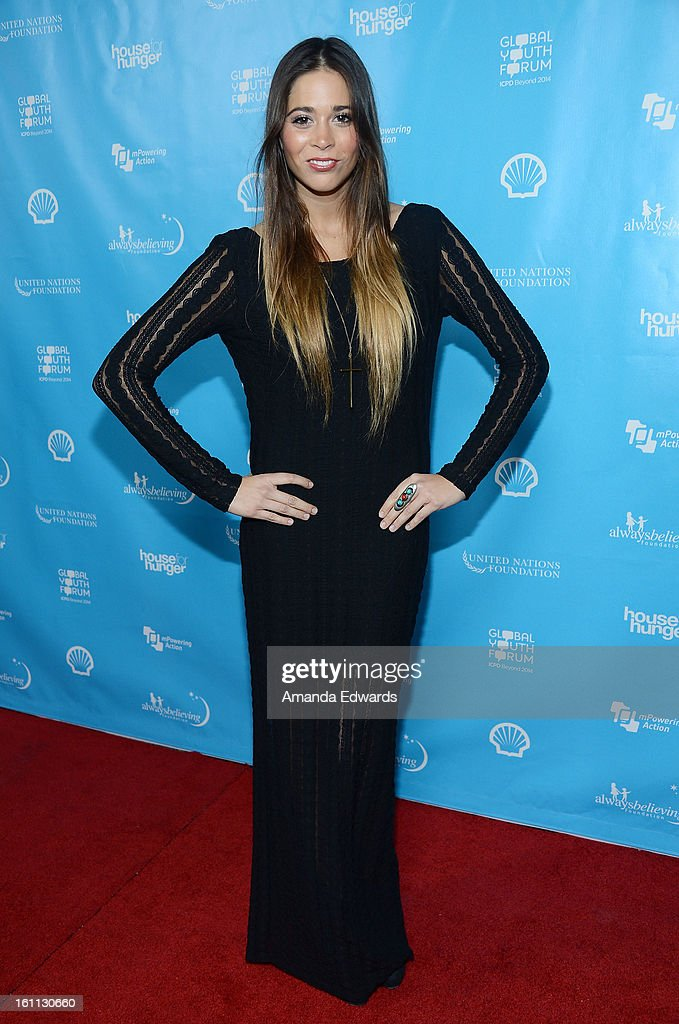 Songwriter Ali Tamposi arrives at the United Nations Foundation's 'mPowering Action' Innovative Mobile Platform launch party at The Conga Room at L.A. Live on February 8, 2013 in Los Angeles, California.