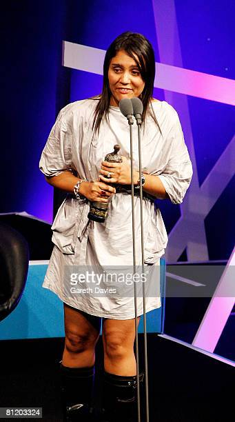 Songwriter Amanda Ghost accepts the award for Best Selling British Song for 'Beautiful Liar' at the 53rd Ivor Novello Awards at the Grosvenor House...