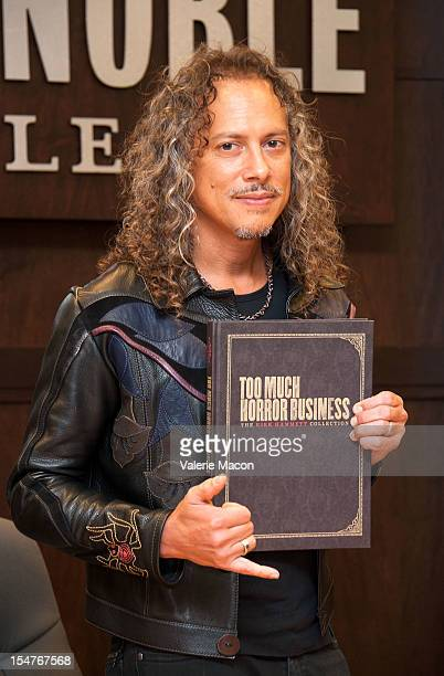 "Songwriter and musician Kirk Hammett attends his book signing for ""Too Much Horror Business"" at Barnes & Noble bookstore at The Grove on October 25,..."