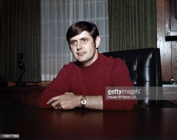 Songwriter and producer Rick Hall poses for a portrait in his office at FAME Studios in 1968 in Muscle Shoals Alabama