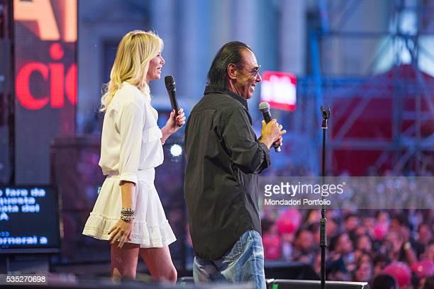 Songwriter Antonello Venditti and host Alessia Marcuzzi at CocaCola Summer Festival Rome Italy 26th June 2015
