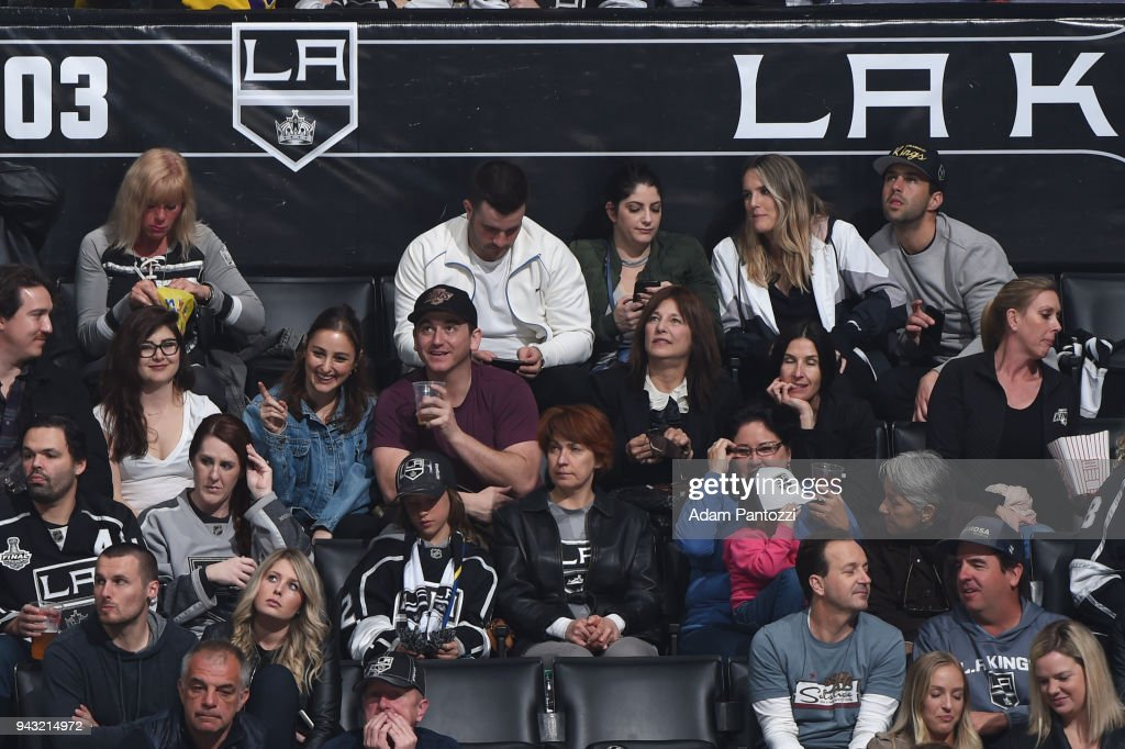 Songwriter Banks and actor Josh Peck attend a game between the Dallas Stars and the Los Angeles Kings at STAPLES Center on April 7, 2018 in Los Angeles, California.