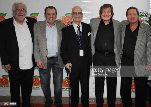 Songwriter Buddy Buie Producer Chips Moman Inducee Paul Cochran Recording Artist Billy Joe Royal and Guest attend the 33rd Annual Georgia Music Hall...