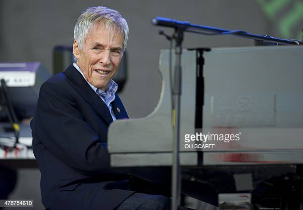 US songwriter Burt Bacharach performs on the Pyramid Stage on the second day of the Glastonbury Festival of Music and Performing Arts on Worthy Farm...