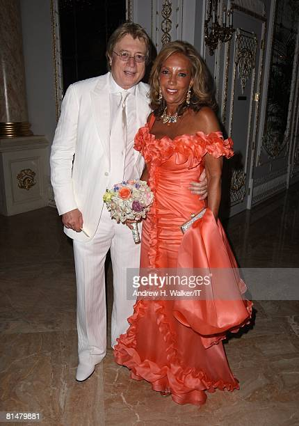 RATES Songwriter Denise Rich and guest during the wedding reception of Ivana Trump and Rossano Rubicondi at the MaraLago Club on April 12 2008 in...