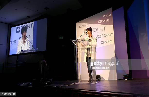 Songwriter Diane Warren accepts the Point Leadership Award onstage at Point Foundation's Voices On Point Gala at the Hyatt Regency Century Plaza on...