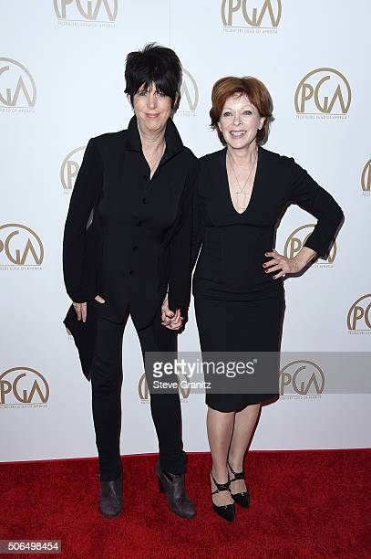 Songwriter Diane Warren and actress Frances Fisher attend the 27th Annual Producers Guild Awards at the Hyatt Regency Century Plaza on January 23...