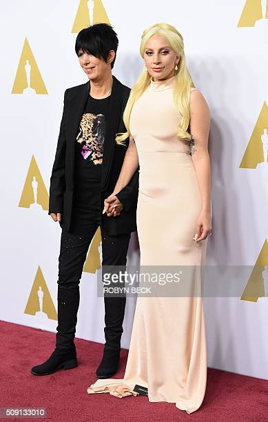 Songwriter Diane Warren and actress Lady Gaga arrives for the 88th Oscar Nominees Luncheon in Beverly Hills California February 8 2016 / AFP / ROBYN...