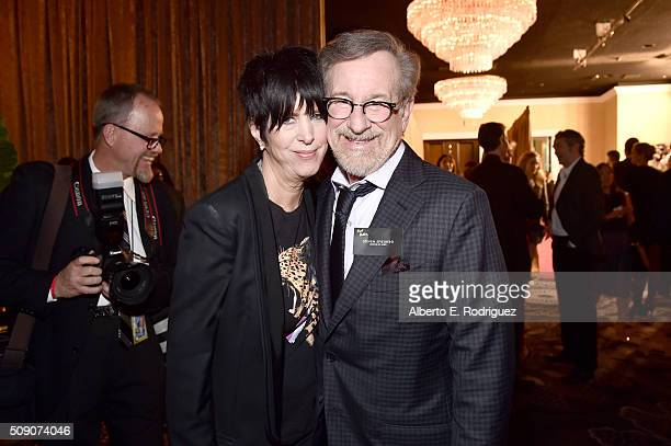 Songwriter Diane Warren and director/producer Steven Spielberg attend the 88th Annual Academy Awards nominee luncheon on February 8 2016 in Beverly...