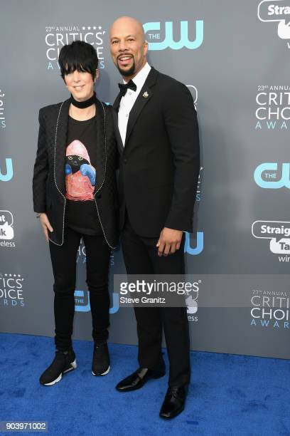 Songwriter Diane Warren and rapper Common attend The 23rd Annual Critics' Choice Awards at Barker Hangar on January 11 2018 in Santa Monica California