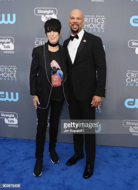 Songwriter Diane Warren and recording artist Common attend The 23rd Annual Critics' Choice Awards at Barker Hangar on January 11 2018 in Santa Monica...