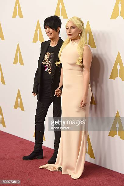 Songwriter Diane Warren and singersongwriter Lady Gaga attend the 88th Annual Academy Awards nominee luncheon on February 8 2016 in Beverly Hills...
