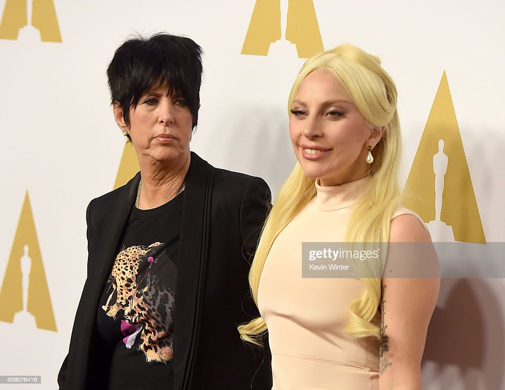 Songwriter Diane Warren (L) and singer-songwriter Lady Gaga attend the 88th Annual Academy Awards nominee luncheon on February 8, 2016 in Beverly Hills, California.