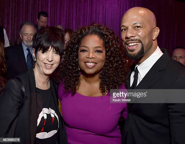 Songwriter Diane Warren Oprah Winfrey and recording artist/actor Common attend the 87th Annual Academy Awards Nominee Luncheon at The Beverly Hilton...